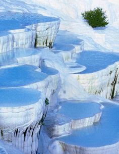 Pamukkale ('cotton castle'), Turkey. Amazing place! (This is not a winter picture, The city contains hot springs and travertines, terraces of carbonate minerals left by the flowing water).