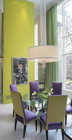 Striking Green And Purple Dining Room Home Decor Lime Decoration