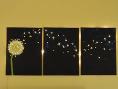 Three-panel, dandelion wall art that lights up! | Offbeat Home    Could also try doing this on the curtain...