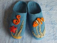 Felted Slippers Romney Wool Blue Sea by Louisa Rull @ FeltSoapGood