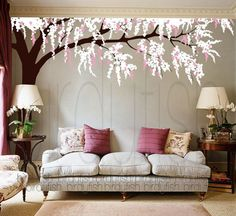 Tree Wall Decals - Cherry Blossom Tree Decal, Nursery Wall Sticker, Wall Decor, Home Decor - LARGE Murals
