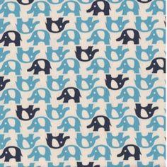 Elephants Blue Navy on White $19/yd