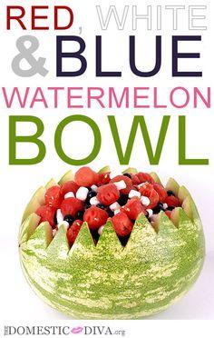 Locally Grown Watermelon at Walmart: Red, White, & Blue Watermelon Bowl (recipe)