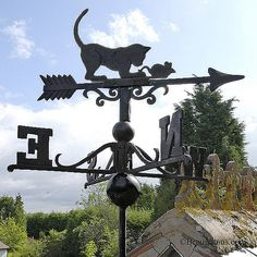 Cat & Mouse Cast Iron Weather Vane Large Black