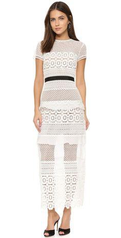 Self Portrait Oblique Lace Column Dress | SHOPBOP