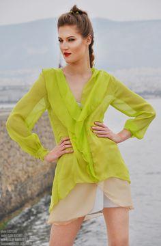 #silk #lime #blouse #mini #dress available at latkafashion.com #bluzka #jedwabna #limonka #sukienka #polishfashiondesigner #agnieszkalatka #latkafashion #handmade #cuture #style
