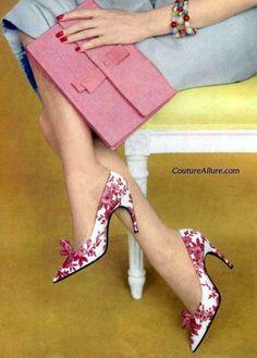 Roger Vivier for Christian Dior, pink silk toile shoes, 1959. #rogervivierhandbags #rogerviviervintage