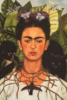 """A fantastic poster of art by Frida Kahlo! Her """"Self-Portrait with Thorn Necklace and Hummingbird"""" is a Fine Art masterpiece full of symbolism. Ships fast. 24x36 inches."""