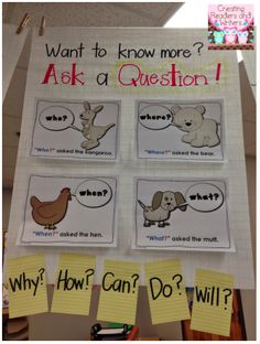 Creating Readers and Writers: anchor chart for asking questions Kindergarten Anchor Charts, Reading Anchor Charts, Kindergarten Literacy, Preschool, Teaching Reading, Teaching Ideas, Guided Reading, Close Reading, Teaching Skills