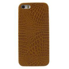 Javu - iPhone 5(s) Hoesje - Harde Back Case Krokodil Cognac Bruin | Shop4Hoesjes
