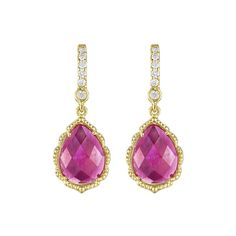 Mid Pear Shape Pink Sapphire Drop Earring by Penny Preville