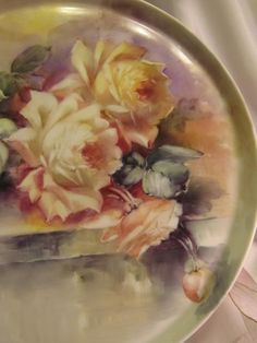 "Breathtaking LARGE 15 3/4"" ROMANTIC TEA ROSES Antique Limoges French from oldbeginningsantiques on Ruby Lane"