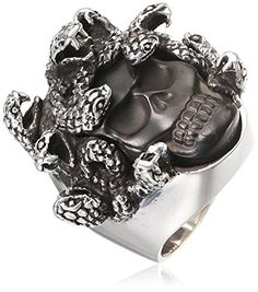 King Baby Men's Medusa Skull 925 Sterling Silver Ring with Carved Jet - Size W…
