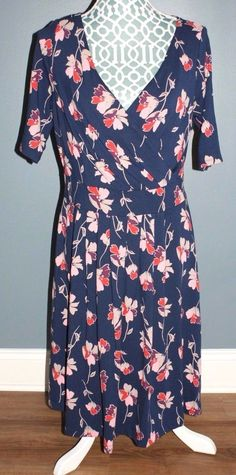 Lands End Floral Short Sleeve Dress Womens Size M 10-12 #LandsEnd #Casual #Casual
