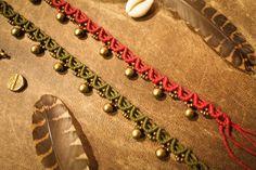 Items similar to Gypsy Anklet with Brass Bells - Macramé India Anklet - Jingling Anklet - Barefoot Hippie - Boho Jewellery - Natural Bohemian Goa on Etsy Macrame Jewelry, Macrame Bracelets, Gemstone Bracelets, Boho Jewelry, Jewelry Crafts, Dreadlock Beads, Macrame Patterns, Micro Macrame, Messing