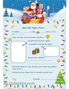 Carta a Papa Noel trabajos - Hojas de trabajo de ELE gratuitas