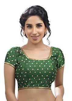 Charming Green Dupian Silk Party-Wear Saree Blouse Sari Choli - KP-106 - Brought to you by Avarsha.com