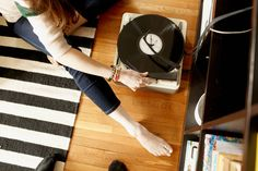 loving my suitcase record player these days! latest favorites: loretta lynn & dave brubeck.    photo by collin hughes