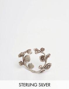 Anillo chapado de plata de ley con diseño de rosas WILD EVE de Regal Rose