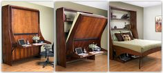Love this Murphy bed idea!  I have a teeny tiny room that also needs to be a guest room and office. This could work!      6a0112793ddf7b28a4015436aec2c6970c-pi (1024×461)