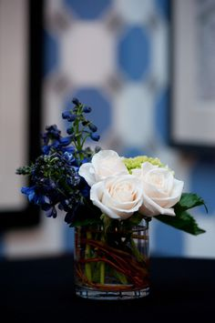Rose centerpiece at a classic Boston Bar Mitzvah {Photo by Photography by Linda}
