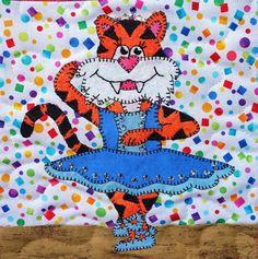 Tiger ballerina PDF applique quilt block pattern; whimsical animal ballet baby or girl's quilt pattern; animal applique PDF quilt by MsPDesignsUSA on Etsy