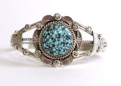 Old Pawn Navajo Spider Web Turquoise Cuff Bracelet - Mary Ann Spencer -29.5g NR