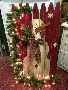 snowman on fence rustic christmas decorationschristmas - Snowman Christmas Decorations