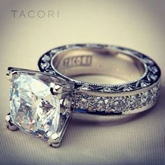 Custom Tacori Engagement Ring (Style No. HT My dream ring.I LOVE this princess cut from Tacori Tacori Engagement Rings, Wedding Engagement, Tacori Rings, Thick Band Engagement Ring, Tacori Jewelry, Western Engagement Rings, Tacori Wedding Rings, Diamond Jewelry, Tiffany Engagement