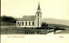 Nord-Trøndelag fylke Levanger kommune Skogns Markabygd. Næroversikt med kirken. Utg A.J. 1905