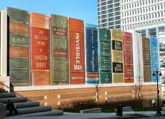 Kansas City Library has one seriously cool façade. Local residents were asked to nominate influential books that represent Kansas City, humungous versions of the winning nominations were then used as the exterior of the library car-park.  note: Lord of the Rings is one of the books