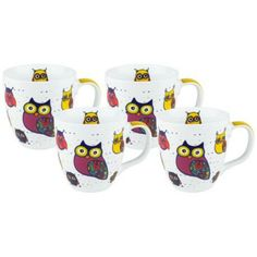 Owls on White Porcelain Mugs Set of 4 Pinned by www.myowlbarn.com