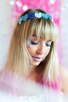 Blue Ombre Glitter Heart  Headband, Glitter Hair Band, Ombre Headband, Sparkle Hair Band, Pretty Prom Headband, Mermaid Hair Accessory on Etsy, £10.00