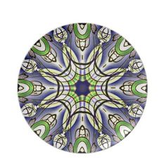 Dusty Purple and Spring Green Geometric Plate
