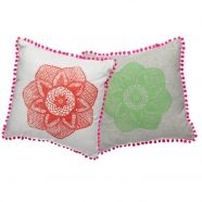 Tangerine and Pea Green cushions with Hot PInk pom pom trim.