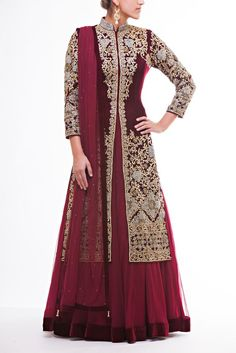 Fully Embroidered Velvet Jacket paired with soft Net Lehenga with Velvet Border paired with Maroon Net Dupatta:
