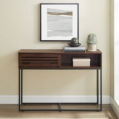 Store your belongings in style with our Walnut Modern Slat Drop Down Door Console Table. The drop door reveals a cubby to place any of your favorite things. Modern Entry Table, Entry Tables, Living Room Furniture, Living Room Decor, Dining Room, Luxury Modern Homes, French Country Bedrooms, Spanish Style Homes, Wooden Slats