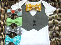 Baby Boy Clothes  Baby Bow Tie With Vest Onesie  by SewLovedBaby, $19.99