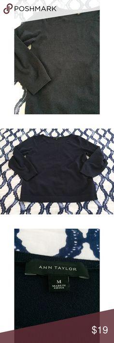 Ann Taylor Sweater Navy blue quarter sleeve sweater Ann Taylor Tops Tees - Long Sleeve