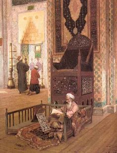 Interior of Mosque - Rudolph Ernst, 1854 - 1932 . Istanbul, Empire Ottoman, Middle Eastern Art, Arabian Art, Art Optical, Art Asiatique, Renaissance Artists, Islamic Paintings, Classical Art