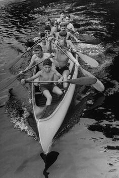 Campers canoeing, 1946. This picture reminds me of canoeing on the Coosa river in Alabama during the 1960's, while spending a week each summer at the  now defunct Camp Arrowhead boy scout camp. Every kid deserves (and needs) the opportunity to go to camp. To spend a week roughing it with his pals in the outdoors will leave a powerful and positive life-long impression upon his character.