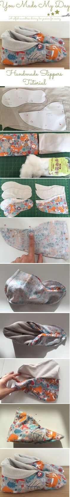 Handmade slippers tutorial and pattern. For more sewing patterns and tutorials, visit http://you-made-my-day.com/blog
