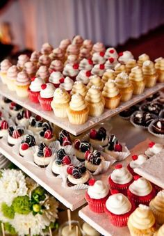 Adorable mini cupcakes! The Hottest 2015 Wedding Trend: 30 Delicious Mini Desserts | Weddingomania