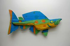 Funky Fish Art  Whimsical Colorful Yellow Lime Green by FISHeFISH