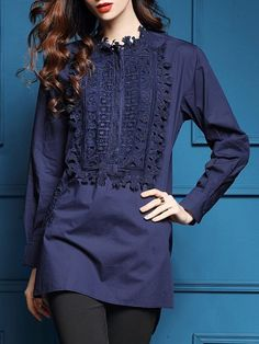 Blue Contrast Crochet High Low Blouse