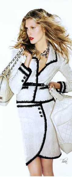 Chanel ~ Classic White Suit w Black trim