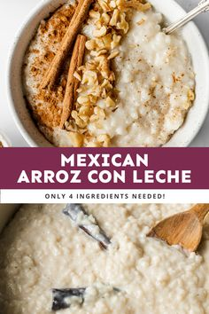 Arroz con Leche (or Mexican rice pudding) is a comforting and simple no-fuss Mexican dessert that's guaranteed to satisfy any sweet tooth. This recipe can be served hot or cold and is made with only 6 ingredients! #arrozconleche Mexican Desserts, Dessert Recipes, 4 Ingredients, Cravings, Sweet Tooth, Sweet Treats, Deserts, Rice, Pudding
