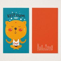 Yoga Cat Keep Calm And Love Business Card - diy individual customized design unique ideas