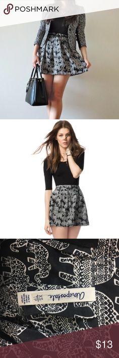 Black white elephant skater skirt size xs Used Aeropostale Skirts Circle & Skater