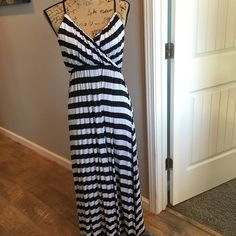 """Strappy"" maxi Dress--- Gap, Strappy ""racer back"" style maxi dress. Blue and white stripe( get ready for spring with this beautiful dress! GAP Dresses Maxi"